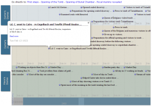 Screenshot of the timeline used to display the entries of Howard Carter's and Arthur Mace's Journals and diaries