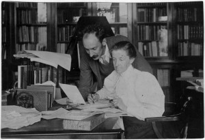 Kate and Francis Griffith working at their home in Oxford.